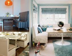 contemporary corner bench seating living room with charming table