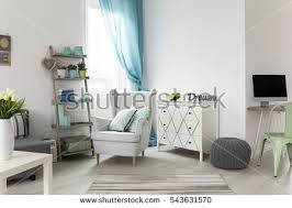 Room With Desk Bright Spacious Living Room Comfortable Couch Stock Photo