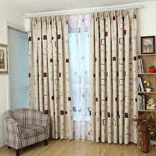 beige plaid print polyester modern bedroom kids curtains on sale