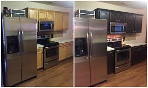 Photos Of Painted Kitchen Cabinets by Diy Painting Kitchen Cabinets Before And After Pics