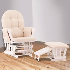 Baby Glider And Ottoman Set Status Roma Glider And Nursing Ottoman In White And Beige Free