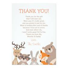thank you cards baby shower baby shower thank you card woodland zazzle