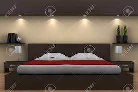 Schlafzimmer Beige Wand Moderne Schlafzimmer Mit Braunen Bett Und Beige Wand Lizenzfreie