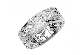 engrave wedding ring wedding band engraved ring flower band leaves wedding band