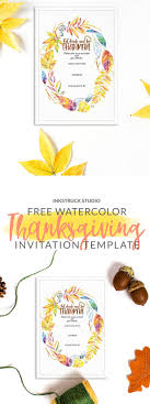 free watercolor invitation template for thanksgiving inkstruck