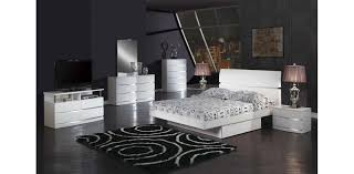 full size white bedroom sets modern white glossy bedroom 5pc set
