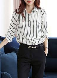 black button blouse shirt sleeves vertical striped white black