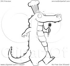 cartoon clipart of a black and white happy chef alligator walking