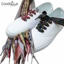 ribbon shoelaces 100cm 39 of flat fashion checkered ribbon shoelaces