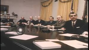 John F Kennedy Cabinet Members Us President Richard Nixon And Cabinet Members Seated At The