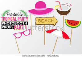 printable photo booth props summer set printable tropical party photo booth stock vector 673255267