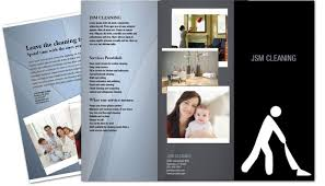 tri fold brochure template for cleaning hospitality services