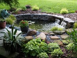 garden minimalist pond natural stone slab waterfall home garden