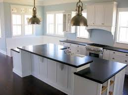 Tile Countertops Kitchen White Cabinets Black Granite Countertops White Subway Tile With