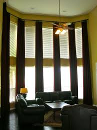 Curved Window Curtains Decorations Cheeerful Bold Sheer Draper Tall Window Treatments