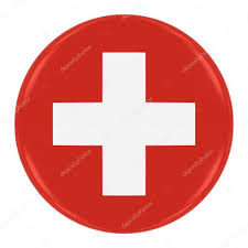 Flag White With Red Cross Swiss Flag Badge Flag Of Switzerland Button Isolated On White