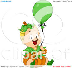 clipart halloween baby in a pumpkin costume with a balloon