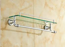 Bathroom Glass Shelves With Towel Bar Chrome Bathroom Towel Shelf Brass Bath Towel Rack Shelf With Towel