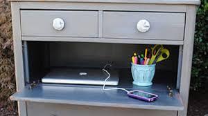 Dresser And Desk Turn A Dresser Into A Compact Laptop Hiding Desk