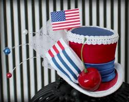 white and blue headband 4th of july mini top hat white and blue headband 4th of july