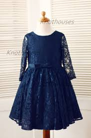 sleeves navy blue lace flower dress baby toddler