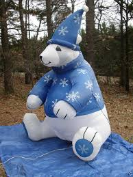 Easter Inflatable Lawn Decorations by 8 U0027 Tall Gemmy Polar Bear W Sweater Lighted Christmas Airblown