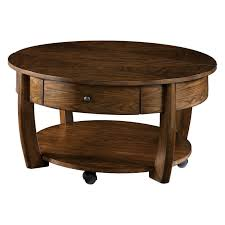 round coffee table with casters hammary sunset valley round cocktail table rich mahogany hayneedle