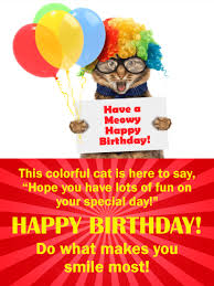 colorful cat happy birthday wishes card for kids birthday