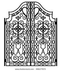 beautiful iron ornament gates stock vector 362732972