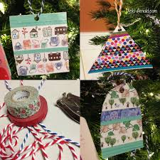 kid made washi ornament inspired by a book of shapes
