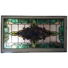 antique stained glass transom window antique american victorian stained and leaded glass window