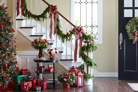 garlands for stairs happy holidays stair rail