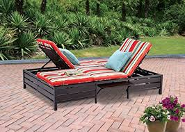 amazon com double chaise lounger this red stripe outdoor chaise