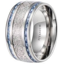 meteorite mens wedding band 10mm meteorite inlay titanium wedding ring with blue carbon fiber