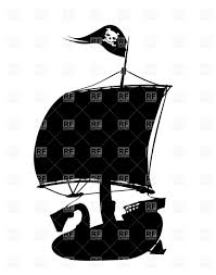pirate ship silhouette with jolly roger vector image 16345