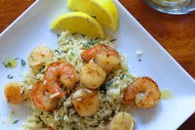 dill mustard shrimp scallops dill rice with lemon mustard vinaigrette recipe