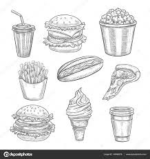 fast food vector sketch isolated icons set u2014 stock vector