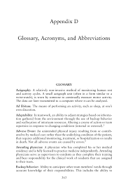 appendix d glossary acronyms and abbreviations resident duty