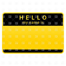 yellow name tag with word