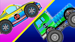 monster truck race videos monster truck vs sports car kids video kids toy race game