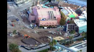 aerial view of construction of star wars land u0026 toy story land