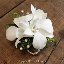 White Orchid Corsage Build Your Own Prom Corsage From Copper Penny Flowers