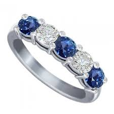 Diamond Sapphire Wedding Ring by Ct Round Cut Diamond And Blue Sapphire Wedding Band Ring