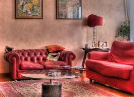 Living Room Tufted Leather Sofa Designs - Red living room design ideas
