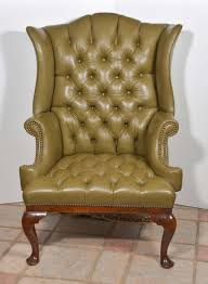 White Leather Wingback Chair 18th Century English Tufted Leather Queen Anne Wing Chair At 1stdibs
