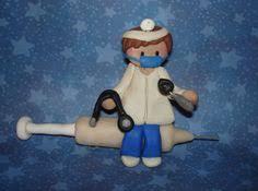 doctor nurse stethoscope scrubs syringe polymer clay milestone
