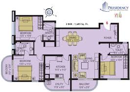 3 Bhk Apartment Floor Plan by Presidency Viva 2 And 3 Bedroom Flats Apartments Ranging From