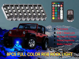 jeep wrangler rock lights 8pc rgb led multi color offroad rock lights wireless remote truck