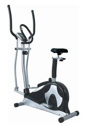 archaic image of grey and yellow elliptical stair climber combo as