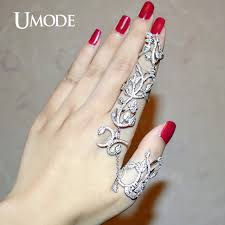 rings finger images Umode unique two full finger ring with chain micro round clear cz jpg